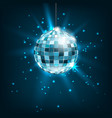 blue disco ball with light rays glitter shiny vector image