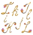 Bronze alphabet with colored gems letters IJKL vector image vector image