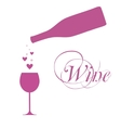 wine bottle with wine glass and sparkles vector image