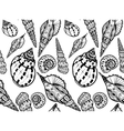 Doodle textured shells seamless pattern vector image