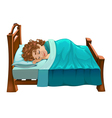 Boy is sleeping on his bed vector image