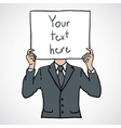 businessman with a white billboard vector image