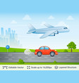 departing airplane above car vector image