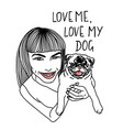 girl and dog love me love vector image