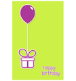 Greeting card with gift box and balloon vector image