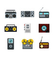 record player icon set flat style vector image
