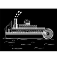 silhouette boat with a water wheel vector image