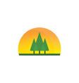 sunset tree landscaping logo vector image