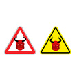Warning sign attention to Satan Hazard yellow sign vector image