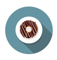 Donut Flat Icon with Long Shadow vector image