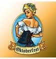 Pretty Bavarian girl label vector image