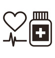 Medicine heart and ecg symbol vector image