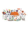 autumn card with pumpkin flowers leaves and vector image