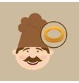 baker holding bagel vector image