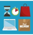 laptop digital delivery fast design isolated vector image