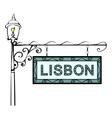 Lisbon retro vintage lamppost pointer vector image