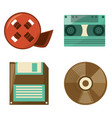 retro reel film diskette cassette and cd play vector image