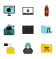 Data theft icons set flat style vector image