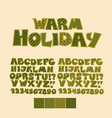 Christmas patchwork style abc font Alphabet symbol vector image