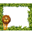 A lion in front of an empty leafy frame vector image