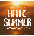 Hello Summer card with Sunset Background vector image