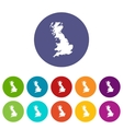 Map of Great Britain set icons vector image