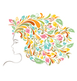 Girl Colorful Floral Hairstyle vector image