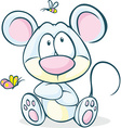 cute mouse sitting isolated on white background vector image