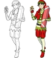 Christmas elf Asian boy with gift vector image vector image