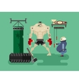 Boxer character in training vector image