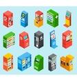 Vending Dispensing Machines Isometric Icons vector image