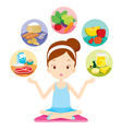 Cute girl siting and showing the 5 food groups vector image