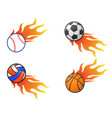 color fire ball logo icons vector image