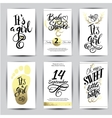 watercolor sticker with gold foil vector image