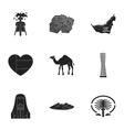 Arab Emirates set icons in black style Big vector image