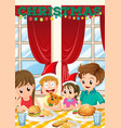 scene with family having meal on christmas vector image