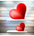 Romantic background with hearts on wood shelf vector image
