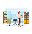 girl takes her things an office building vector image