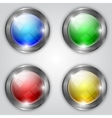 set of glossy colorful round buttons with metallic vector image