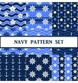 navy seamless pattern set vector image