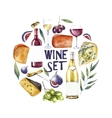 Watercolor wine set Round card background vector image
