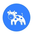Cow black icon for web and mobile vector image