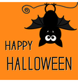 Cute bat Happy Halloween card vector image