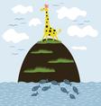 Giraffe on the island vector image