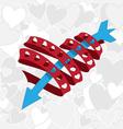 heart ribbon with arrow vector image
