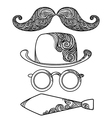 Retro party objects with moustaches isolated on vector image