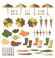 Rubber boots umbrellas rain set vector image