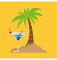 cocktail palm sand beach symbol vector image