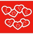 Red card with paper hearts for Valentines day vector image