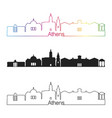 athens ga skyline linear style with rainbow vector image